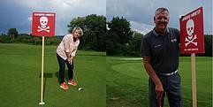 Ein Bild, das aus zwei Bilder besteht. Links eine Frau und rechts ein Mann. Beide halten einen Golfschläger in der Hand. Neben ihnen steht ein Danger Mines Schild