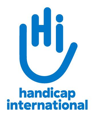 Das neue Logo von Handicap International. Ein Piktogramm mit einer Hand, die die Buchstaben HI formt. Darutner der Name.